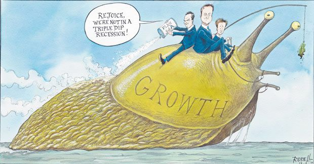 28 April 2013 - Osborne, Clegg and Cameron sit atop an enormous slug named 'Growth' - the slug is being tempted forward with a lettuce leaf, whilst Osborne pours 'Plan A' on the slug, which is salt and will end up dissolving growth.