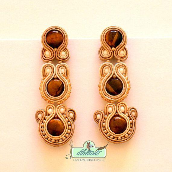 SALE Classic long beige Soutache Earrings by DILETTANTEsoutache, $95.00