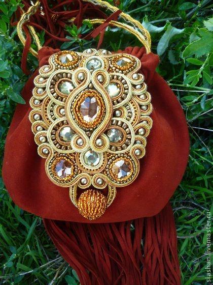 Вечерняя сумочка в бохостиле - рыжий,однотонный,сумка ручной работы,сумка женская