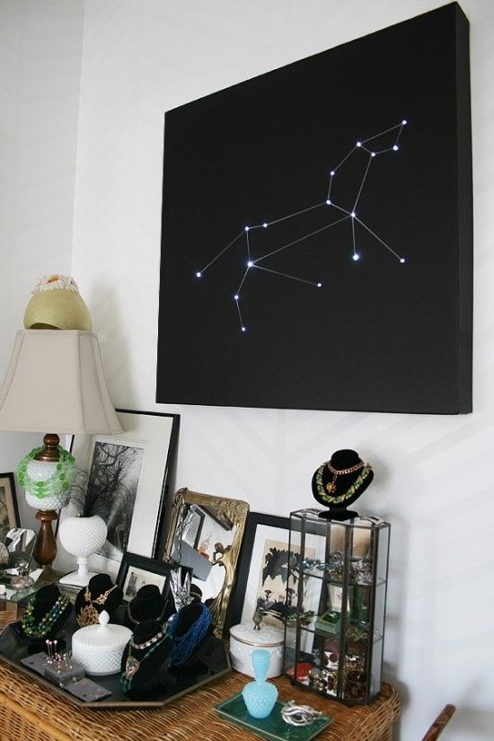 25 Galactic DIYs from @BuzzFeed DIY Especially love this Constellation Starry Lights wall art: