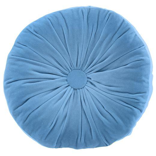 Круглая подушка из голубого бархата