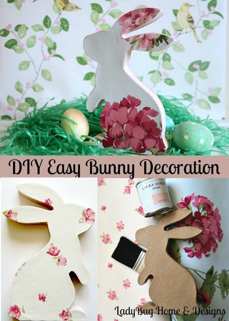 Diy easy bunny decoration with laura ashley wallpaper and for Easy paper mache ideas