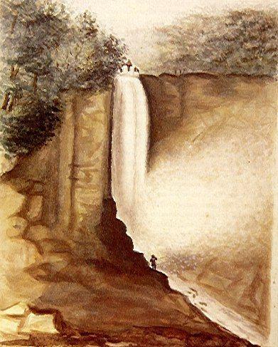 Catarata del Tequendama en 1821 - Jose Maria Espinosa Prieto (1796-1883)   Técnica:Acuarela sobre papel blanco Dimensiones:27.5x17.9cms Año (creación o publicación):1821 Ubicación:Biblioteca Nacional de Colombia.