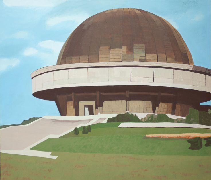 Agnieszka Gąsiorowska-Żaba, Planetarium (Katowice – Chorzów), 80x70 cm, tempera jajowa na płótnie, 2013 r.