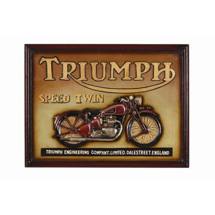 Pub Sign - Triumph Speed Twin https://www.studio9furniture.com/entertain/bar-decor/wall-decor/pub-sign-triumph-speed-twin  This pub sign is made from MDF / Polyresin and has a hand painted finish.