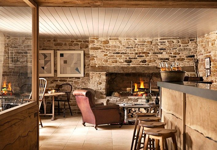 Look at the rough-edged paneling on the bar. Oh fun. The Wild Rabbit Cotswolds.  (Remodelista)