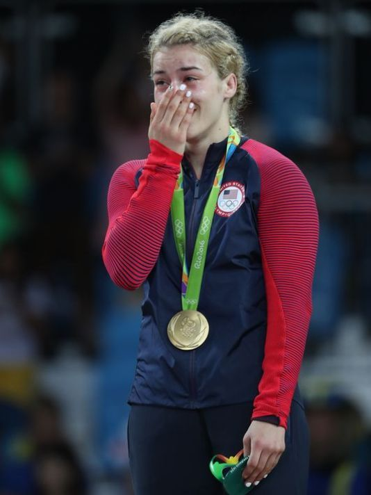 Marquette's Helen Maroulis becomes 1st US woman with wrestling gold! Maroulis covered her mouth in disbelief after winning the 53 kg weight class, defeating Japan's Saori Yoshida, 4-1
