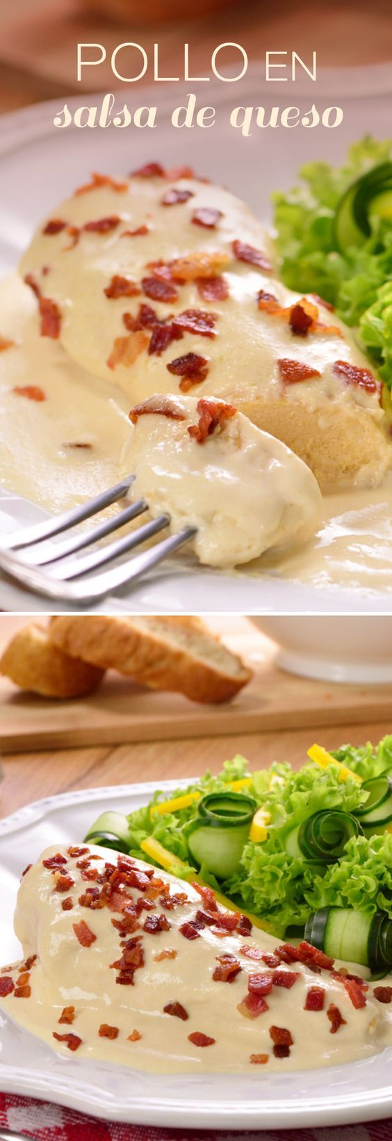 Pollo con salsa de queso Pinterest | https://pinterest.com/elcocinillas/