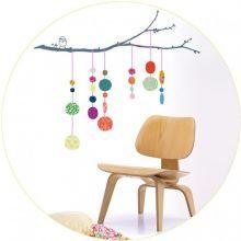 Αυτοκόλλητο+τοίχου+'Κλαδί+με+πολύχρωμες+μπάλες'