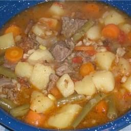 This recipe uses left over prime rib bones, any left over meat and your preferred vegetables. - PRIME RIB BEEF BARLEY SOUP