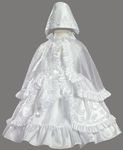 White Ribboned Taffeta Christening Baptism Dress with Ruffled Cape and Matching Bonnet - Size 2T $80.95