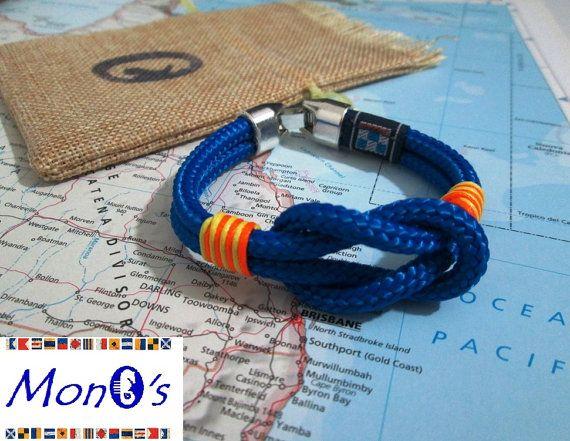 Bracciale con chiusura in Zamak Azzurro - Men's nautical bracelet with zama clasp