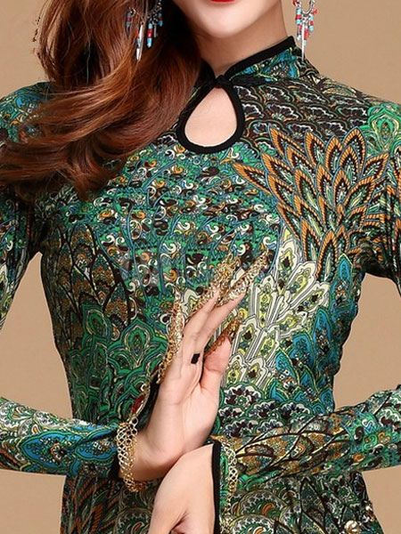 Sexy Costume de danse orientale en soie vert