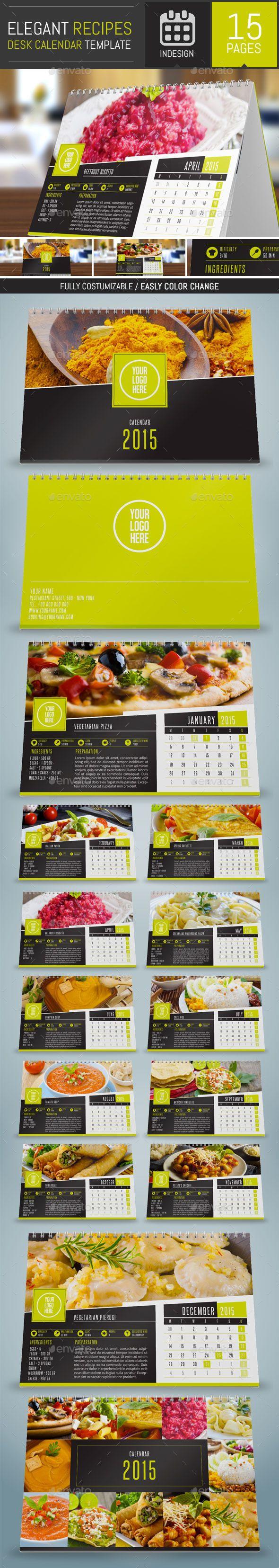 Elegant Recipes 2015 Desk Calendar Template | Buy and Download: http://graphicriver.net/item/elegant-recipes-2015-desk-calendar-template/9557533?ref=ksioks