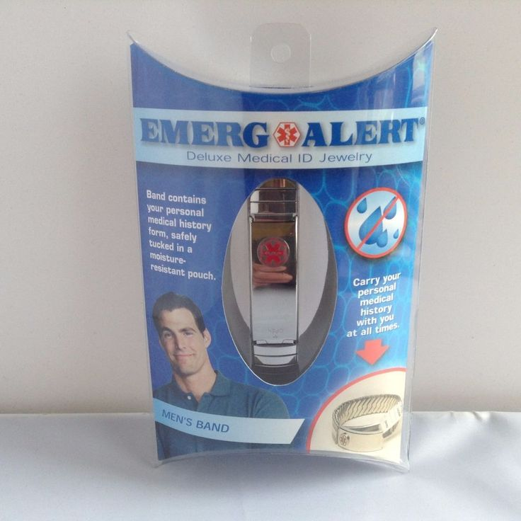 NEW Emerg Alert Men's Bracelet Deluxe Medical ID Jewelry Silver Emergency Band #EmergAlert