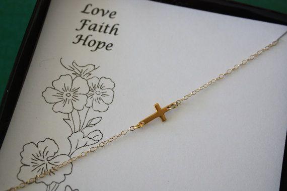 Kreuz, Sideway Halskette, kleine Kreuz Halskette, Gold Cross Collier, seitwärts kreuzen, Liebe glaube Hoffnung-Karte