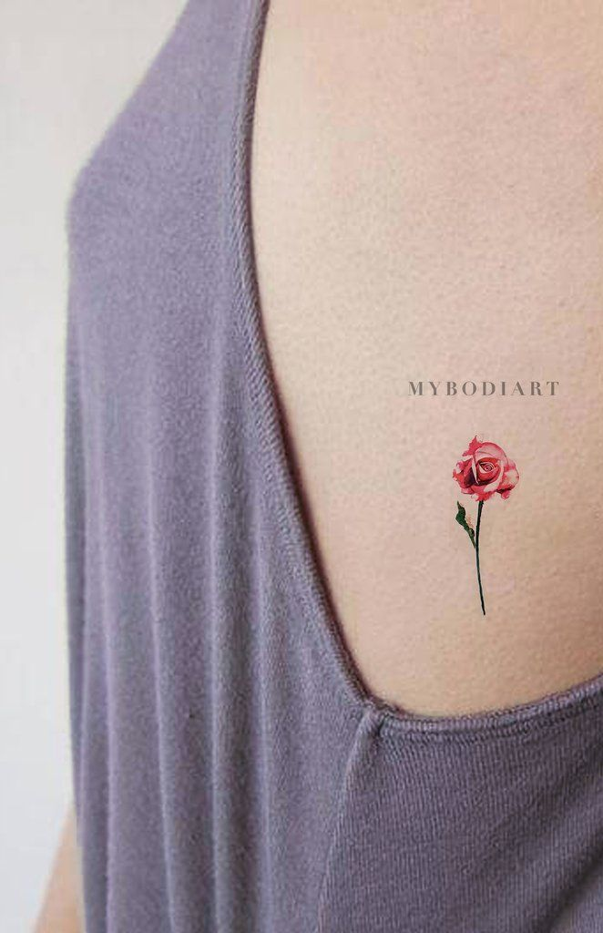 Carolyn Small Watercolor Realistic Single Red Blue Rose Temporary Tattoo Delicate Flower Tattoo Rose Rib Tattoos Watercolor Tattoo Flower