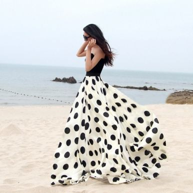 Charming Chiffon Polka Dot Pattern Long Maxi Skirts, it's so cool!