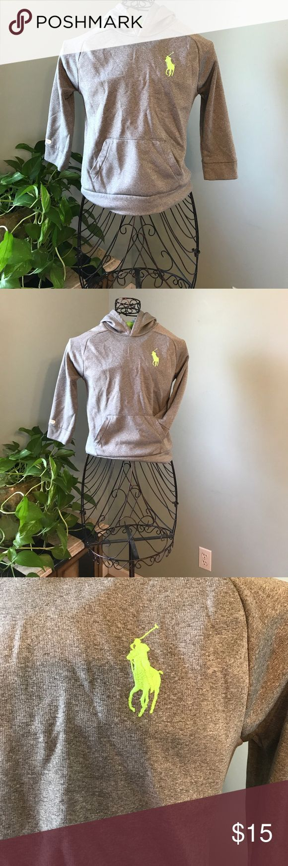 """Polo sweatshirt Polo Ralph Lauren Pullover styling. Front kangaroo pocket. Applied """"3"""" accents the right arm. Our embroidered Big Pony accents the left chest. Size 7 Polo by Ralph Lauren Shirts & Tops Sweatshirts & Hoodies"""