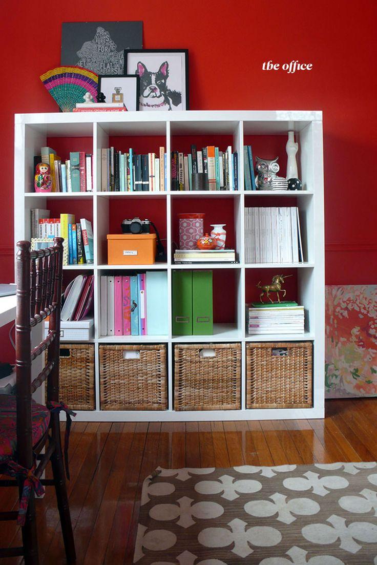 Bookcase organization.