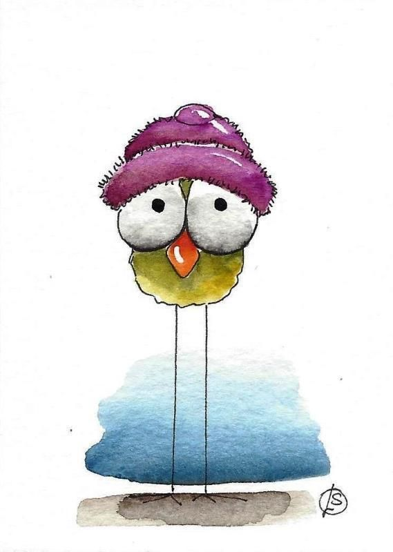 ACEO Original watercolor art painting whimsical birds purple hat green bird #IllustrationArt