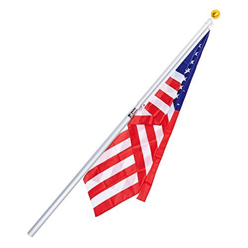 CO-Z 16' Tlescoping Aluminum Flag Pole Kit 4-Section falgpole for 1 US flag  This telescopic flagpole comes in 4 sections that are screwed together. Each telescopic section can be fixed by twisting it around and around. Each section is 52.25 inches long (that includes the embedded part). The max length of the flagpole is 16 feet. The mounting PVC sleeve allows the pole to stick into the...
