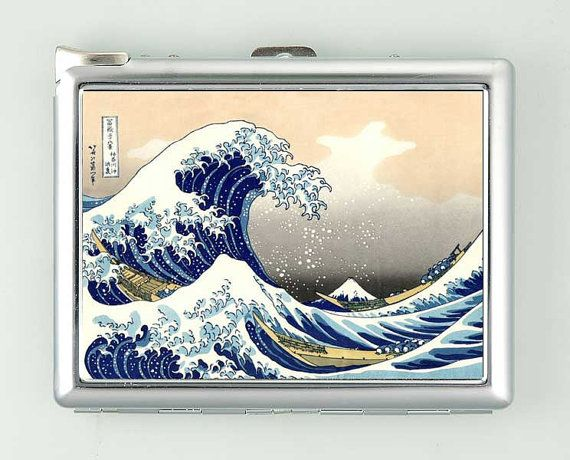Hokusai Great Wave Cigarette Case with Lighter Wallet Business Card Holder ***********************************  We sell only case & lighter. We do