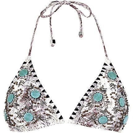 Cream embellished triangle bikini top