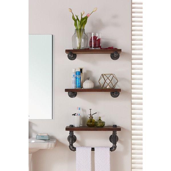Armen Living Conrad Industrial Silver/Walnut-finish Wood 20-inch Floating Wall Shelf