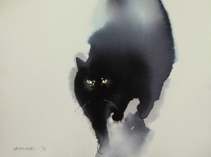 Cat 6, watercolor or ink, by Endre Penovac.