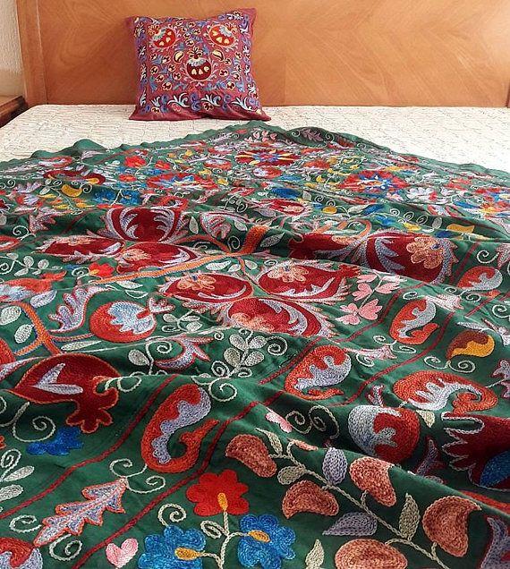 A bright and expressive Uzbek Handmade Suzani. Bedspread