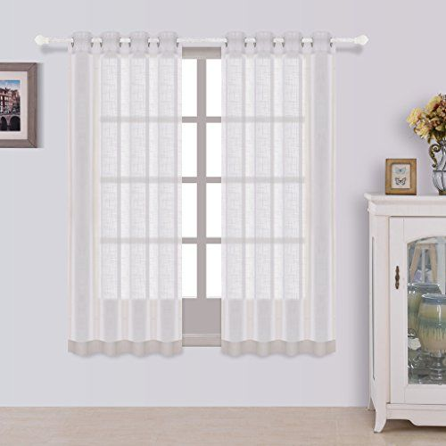 Best Dreamcity Set Of 2 Panels Linen Look Semi Sheer Curtains For Bedroom  W52 By
