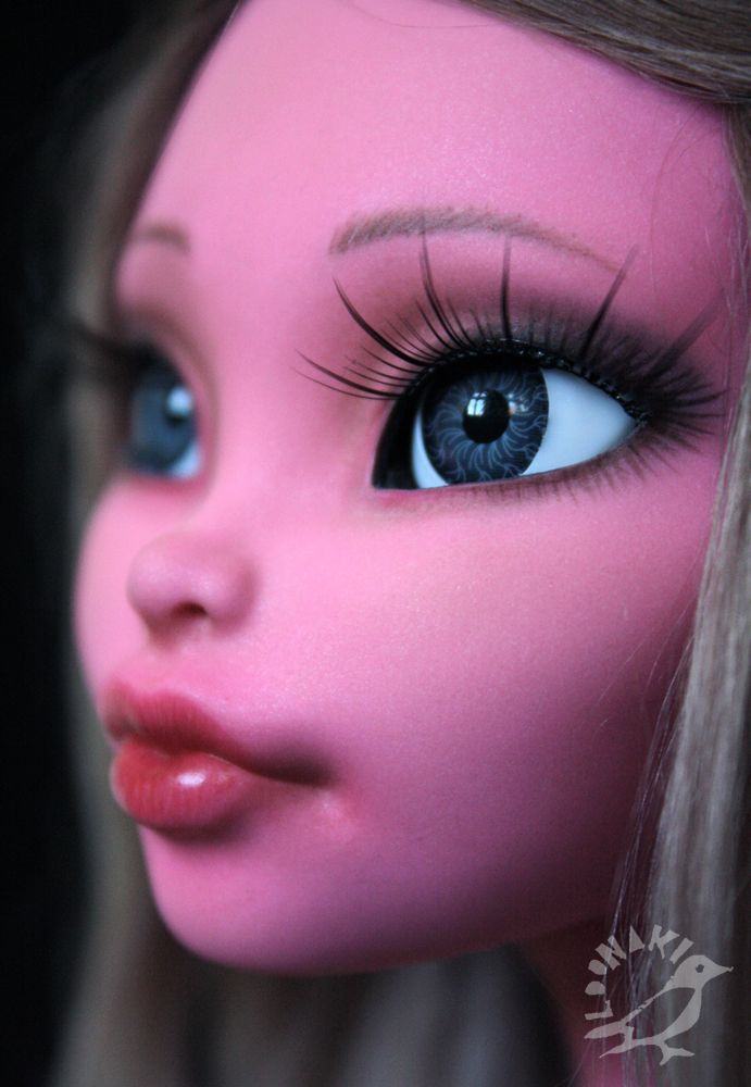 "requiemart: "" loonakii: "" ""Rose - Monster High custom doll "" Original doll: Mattel Monster High Gooliope Jellington Wig: dyed raw alpaca fiber Body mod: eyes cut open, sanded off drops Eyes: grey..."