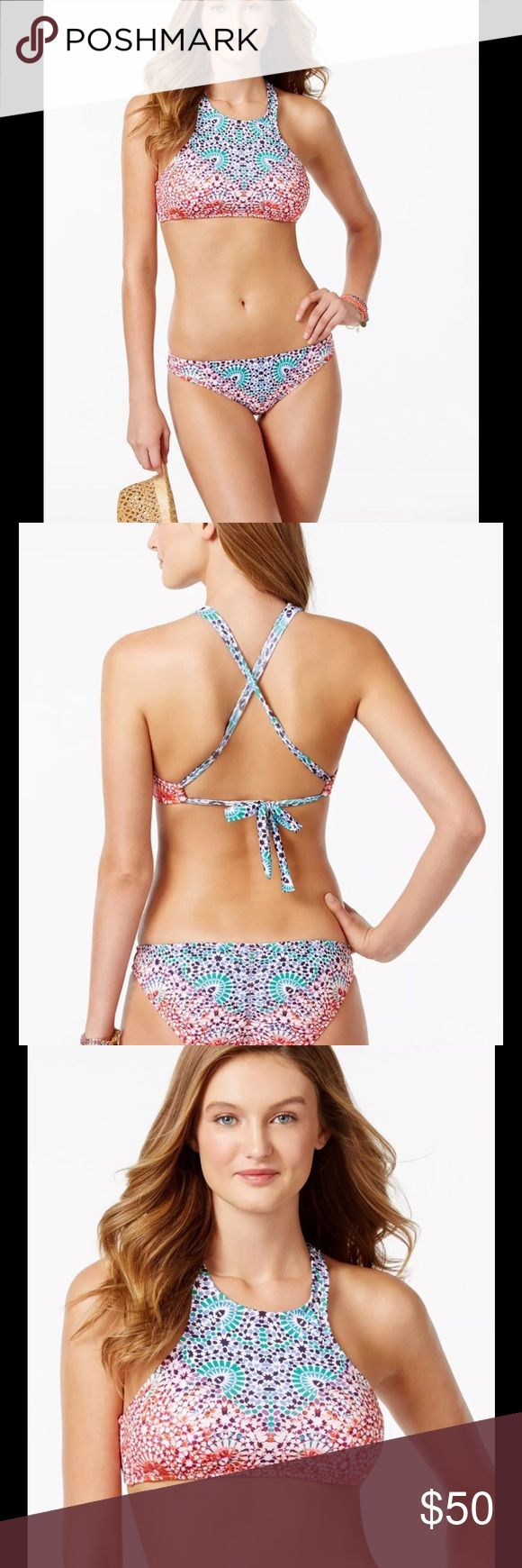 Becca Bikini Bathing Suit Swimwear NWT Becca by Rebecca Virtue Fancy Halter Style High Neck Bikini Bathing Suit. Lined bust with removable soft pads. Self tie at neck and back. Fully lined bikini bottoms. Top fits up to D Cup. BECCA Swim Bikinis