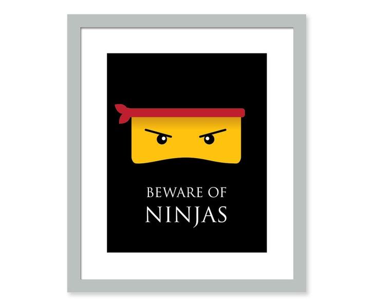 Ninja Art Print - 8x10 - Ninja art- kids wall decor - great for kids room or playroom. $14.00, via Etsy.