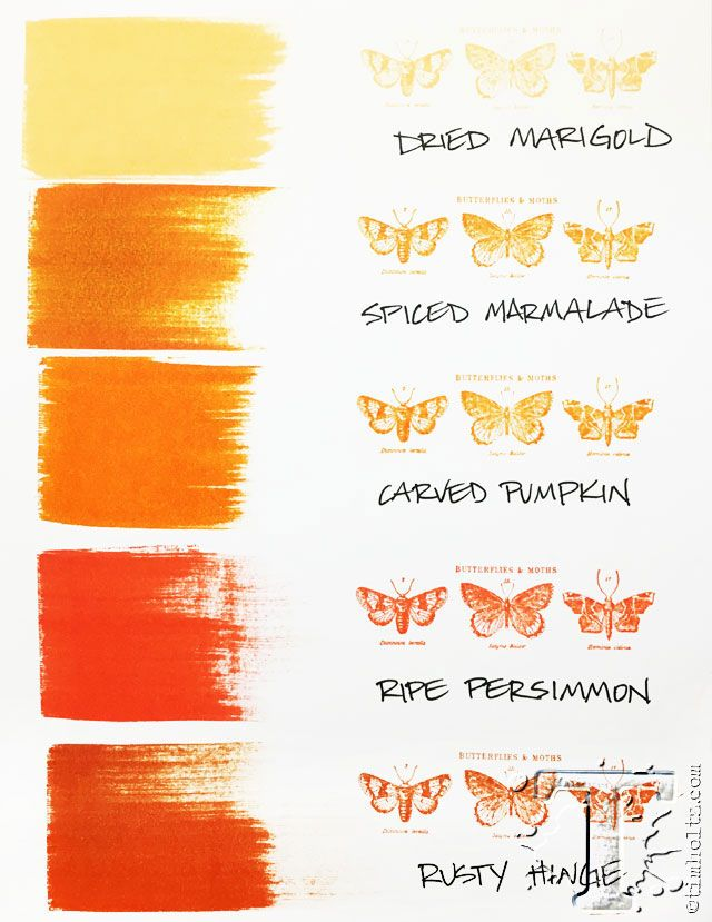 "Tim Holtz - his new October ""Carved Pumpkin"" color chart! Very nice!"