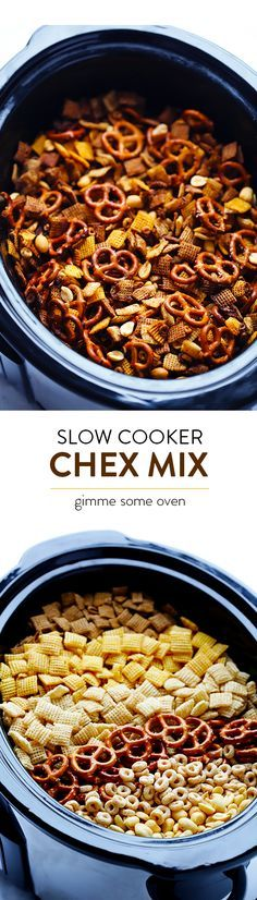 Slow Cooker Chex Mix -- turns out that this favorite snack is actually SUPER easy to make in the crock pot!  So tasty, and always a crowd favorite.   gimmesomeoven.com