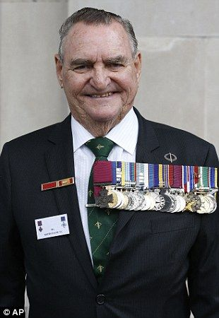 Australian, Keith Payne, Victoria Cross holder, arrives for a service at St Martin in the Fields in London