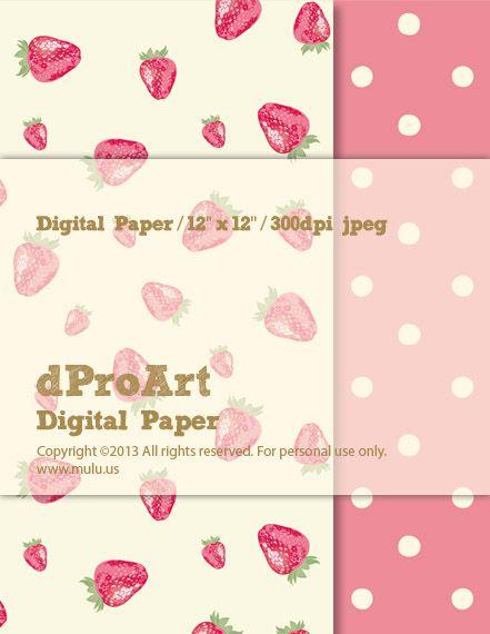 English Cotton 01 Strawberry Polka Dot Digital Paper