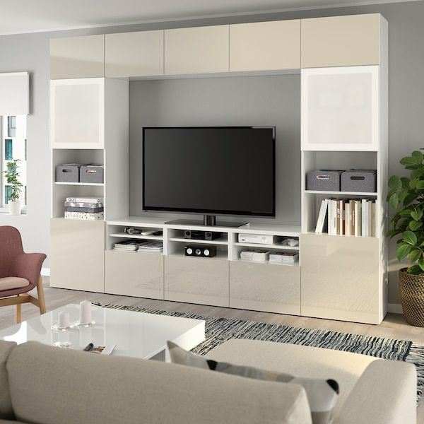 Besta Tv Storage Combination Glass Doors White Selsviken High Gloss Beige Frosted Glass 118 1 8x15 3 4x90 1 2 Order Here Ikea In 2020 Tv Storage Tv Wall Unit Ikea Tv Wall Unit