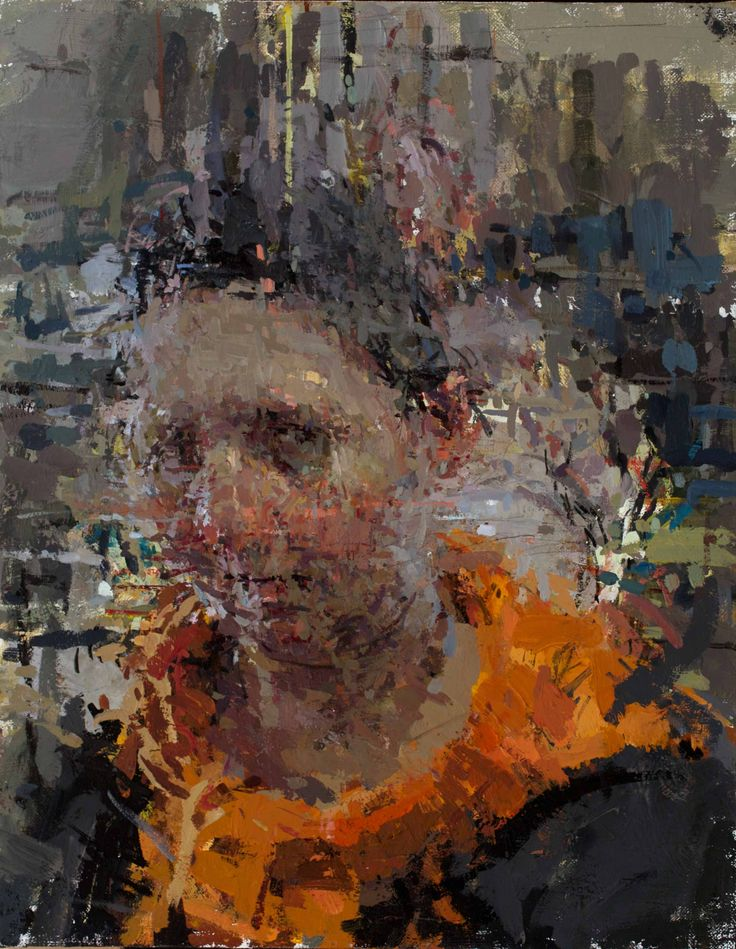 """Anne Gale. """"Portrait with Orange Scarf"""" 14 x 11"""" oil on linen wrapped Masonite, 2014  image courtesy of the artist"""