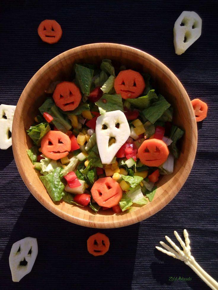 halloweeni friss zöldségsaláta  (gluténmentes, laktózmentes, tojásmentes, nyers, vegán) / Recept / tetszés szerinti zöldségek, sörélesztőpehely, magok