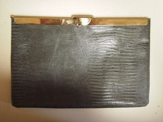 Vintage 1980's grey leather evening bag or clutch by VintageTwists