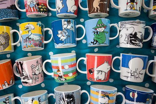 A Moomin mug collection.