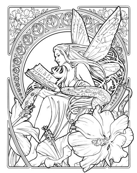 Faerie N 03 Snake Bw 455x576 Elves FantasyColoring Book PagesMandala