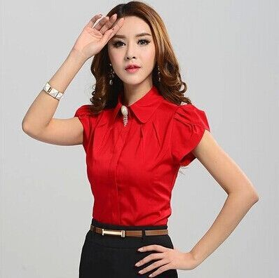 New Lady Office Shirt Work Wear Women's Tops Butterfly Short Sleeve Turn-Down Collar Rose Red White Women Blouse