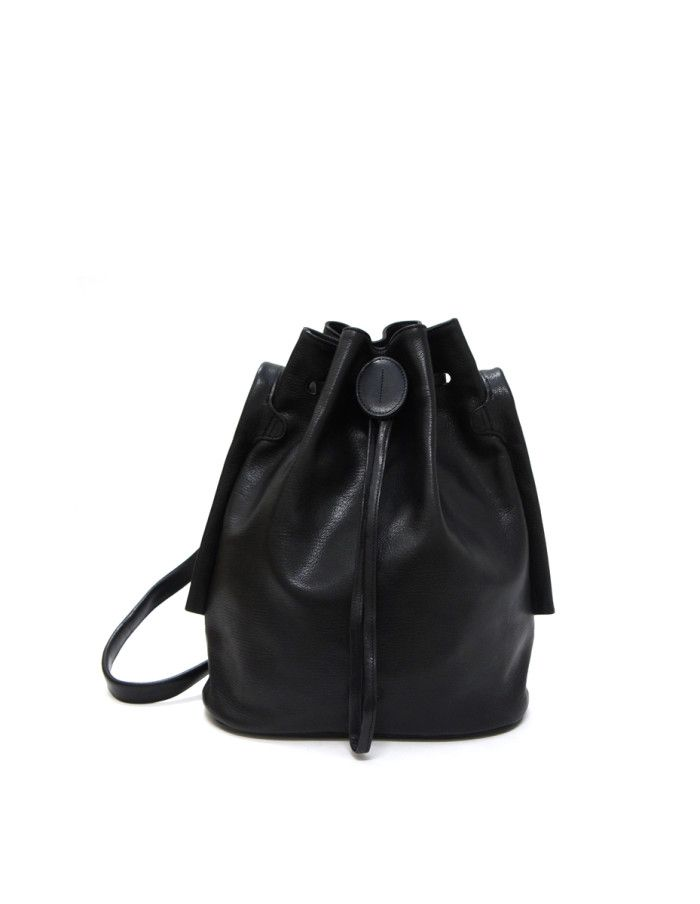 Large LUMI Verna Bucket Bag, in black, is made of vegetable tanned goat leather. Chemical free dyeing.