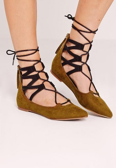Ghillie Lace Up Pointed Flat Shoes Khaki