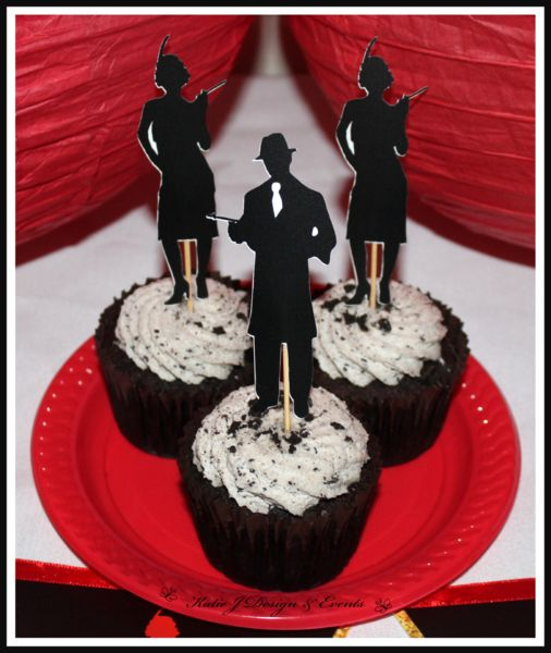 Cupcake Toppers #1920s #Gangster #Fapper #18th #21st #30th #HensNight #BacheloretteParty #ladies #PartyDecorations #Heels #Martini #GirlsNightOut #Hens #Night #Bachelorette #Divorce #Birthday #Bunting #Party #Decorations #Ideas #Banners #Cupcakes #WallDisplay #Wine #Labels #PartyBags #Invites #KatieJDesignAndEvents #Personalised #Creative