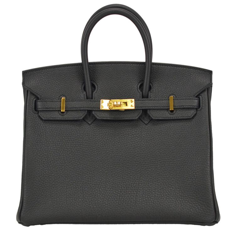 Birkin 25 Black Gold Hardware Togo Leather
